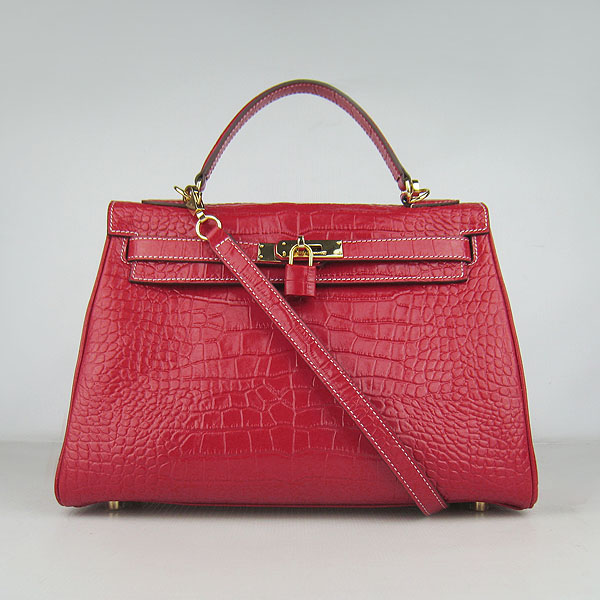 7A Replica Hermes Kelly 32cm Crocodile Veins Leather Bag Red 6108
