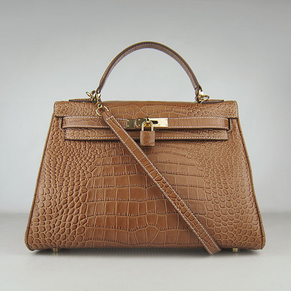7A Replica Hermes Kelly 32cm Crocodile Veins Leather Bag Light Coffee 6108