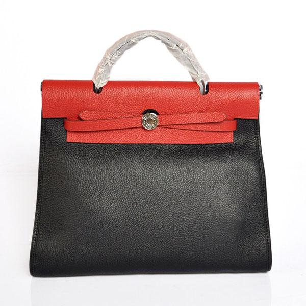 7A Replica Hermes Black/Red Red Kelly 32cm Togo Leather Bag 1689