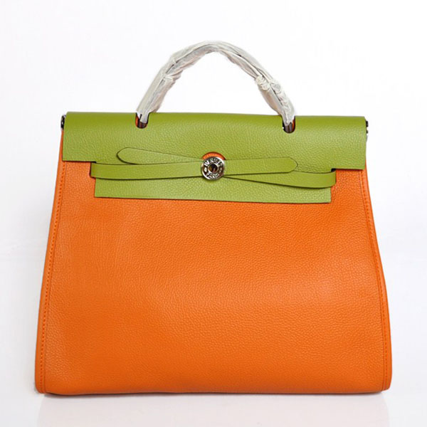 7A Replica Hermes Orange/Green Red Kelly 32cm Togo Leather Bag 1689