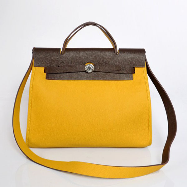 7A Replica Hermes Yellow/Coffee Kelly 32cm Togo Leather Bag 1689