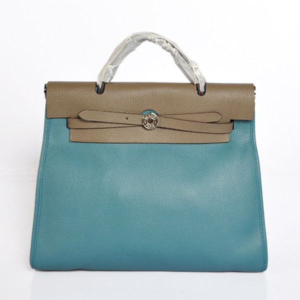 7A Replica Hermes Blue/Gery Kelly 32cm Togo Leather Bag 1689
