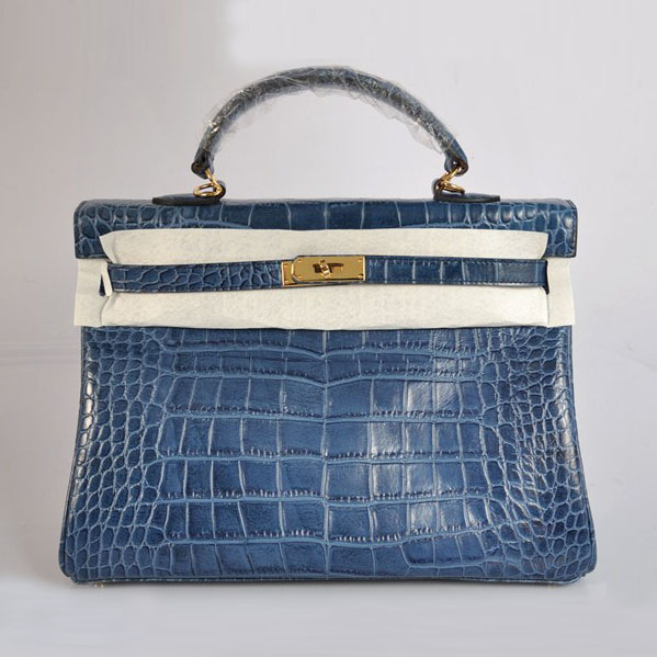High Quality Hermes Kelly 35cm Crocodile Veins Leather Bag Blue H035