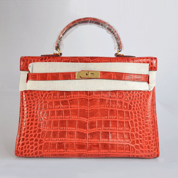 High Quality Hermes Kelly 35cm Crocodile Veins Leather Bag Qrange H035