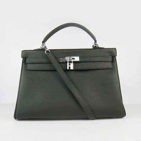 High Quality Hermes Kelly 35CM Togo Leather Bag Black 6308
