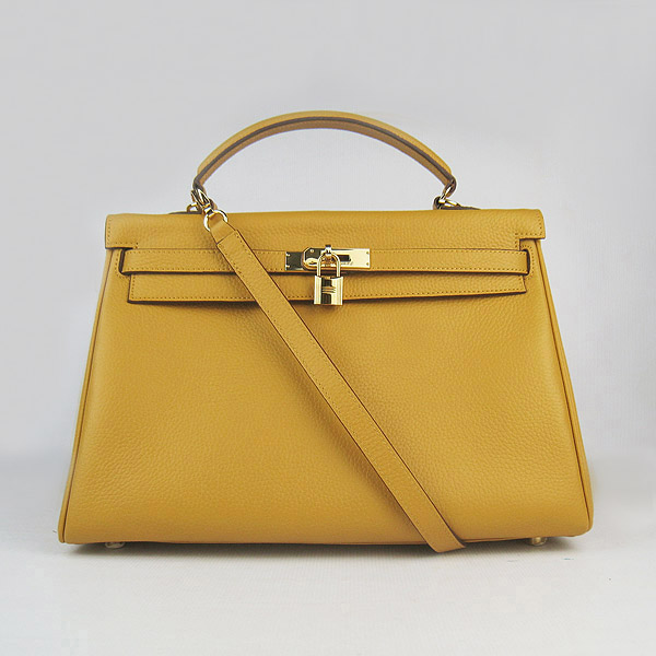 High Quality Hermes Kelly 35CM Togo Leather Bag Yellow 6308