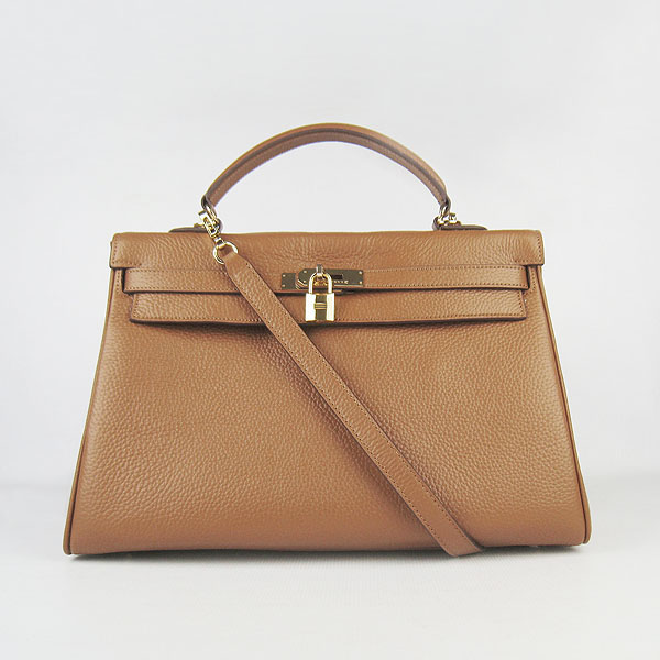 High Quality Hermes Kelly 35cm Togo Leather Bag Coffee 6308