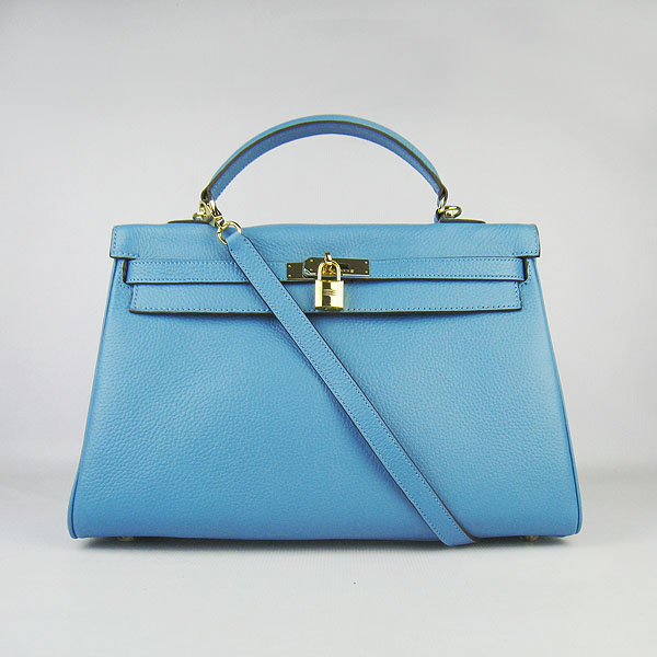 High Quality Hermes Kelly 35CM Togo Leather Bag Light Blue 6308