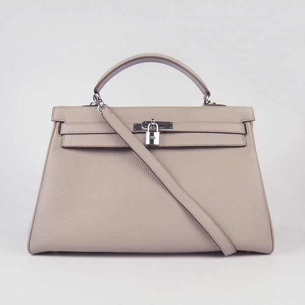High Quality Hermes Kelly 35cm Togo Leather Bag Grey 6308