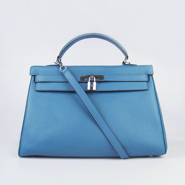 High Quality Hermes Kelly 35CM Togo Leather Bag Middle Blue 6308