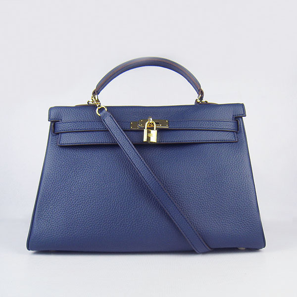 High Quality Hermes Kelly 35cm Togo Leather Bag Dark Blue 6308