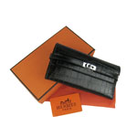 High Quality Hermes Kelly Crocodile Veins Long Clutch Bag H009 Black Fake