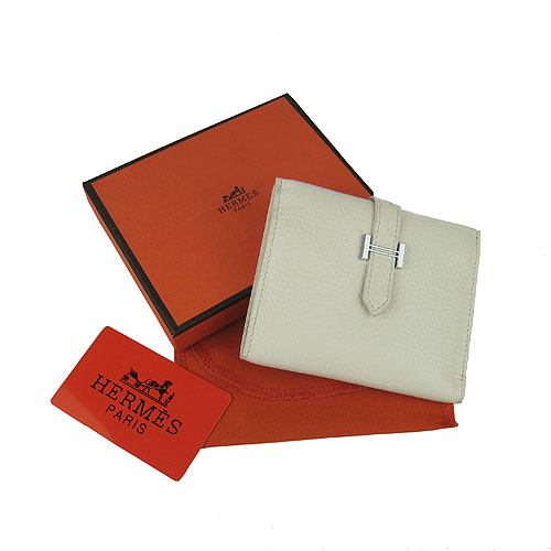 Cheap Replica Hermes Bearn Japonaise Calf Leather Bi-Fold wallet H006 White