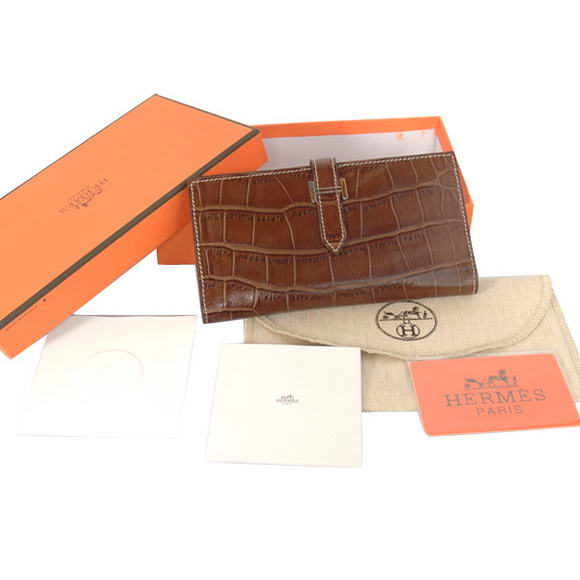 High Quality Hermes Bearn Japonaise Croco Leather Bi-Fold Wallets H208 Brown Fake