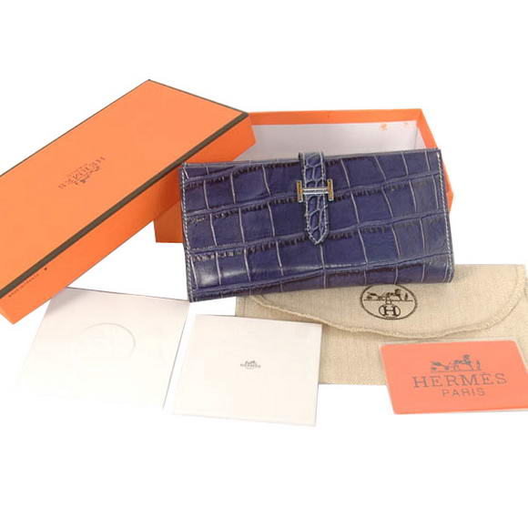 High Quality Hermes Bearn Japonaise Croco Leather Tri-Fold Wallet H308 Blue Fake