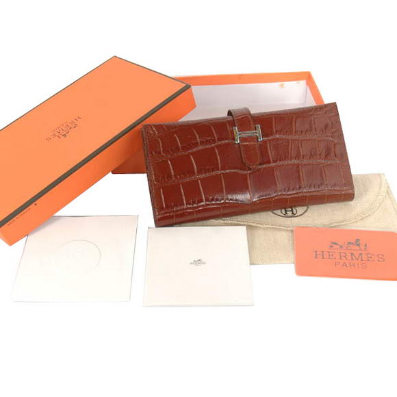 High Quality Hermes Bearn Japonaise Croco Leather Tri-Fold Wallet H308 Coffee Fake