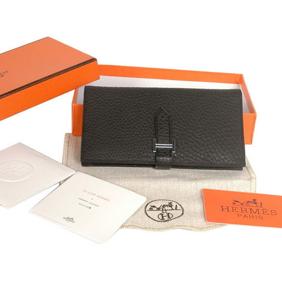 High Quality Hermes Bearn Japonaise Original Leather Wallet H8022 Black Fake