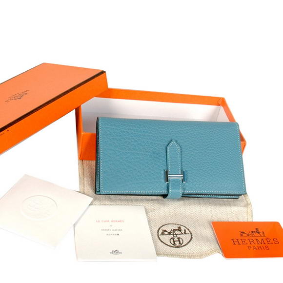 High Quality Hermes Bearn Japonaise Original Leather Wallet H8022 Blue Fake