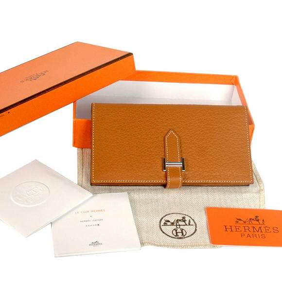 High Quality Hermes Bearn Japonaise Original Leather Wallet H8022 Camel Fake