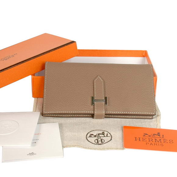 High Quality Hermes Bearn Japonaise Original Leather Wallet H8022 Grey Fake