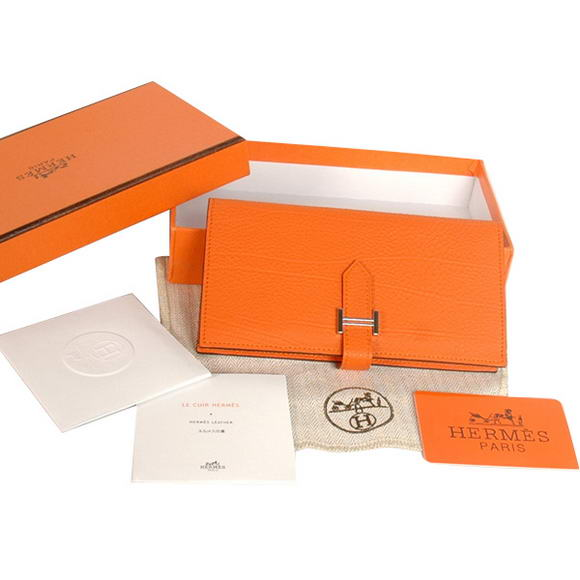 High Quality Hermes Bearn Japonaise Original Leather Wallet H8022 Orange Fake