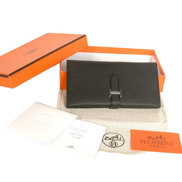 High Quality Hermes Bearn Japonaise Original Leather Wallet H8033 Black Fake