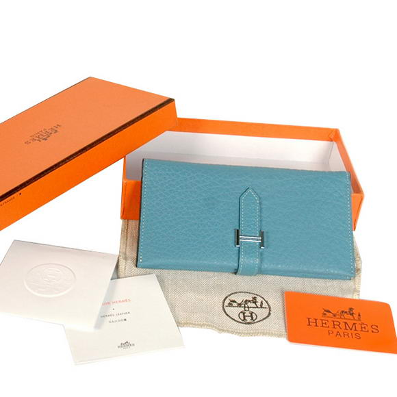 High Quality Hermes Bearn Japonaise Original Leather Wallet H8033 Blue Fake
