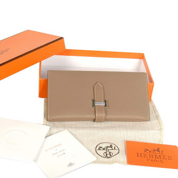 High Quality Hermes Bearn Japonaise Original Leather Wallet H8033 Grey Fake