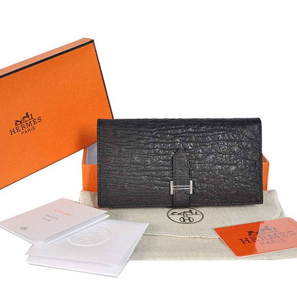 High Quality Hermes Bearn Japonaise Ostrich Leather BI-Fold Wallet H208 Black Fake