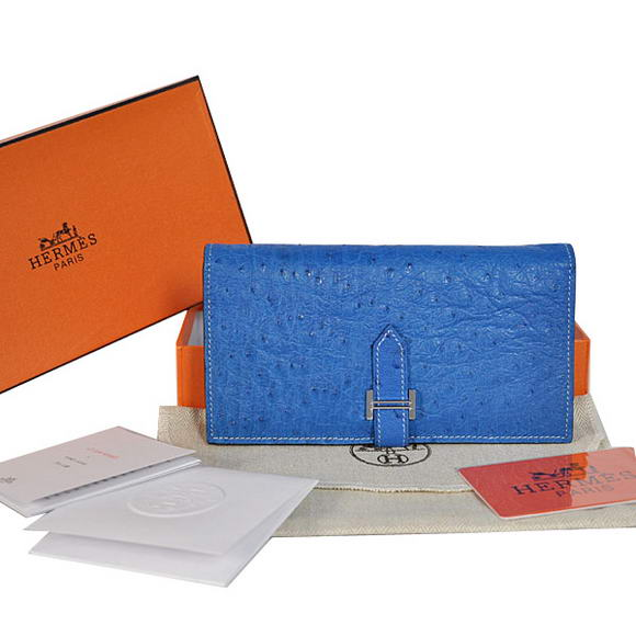 High Quality Hermes Bearn Japonaise Ostrich Leather BI-Fold Wallet H208 Blue Fake