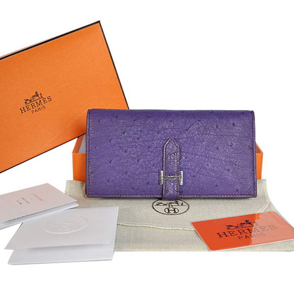 High Quality Hermes Bearn Japonaise Ostrich Leather BI-Fold Wallet H208 Purpl Fake