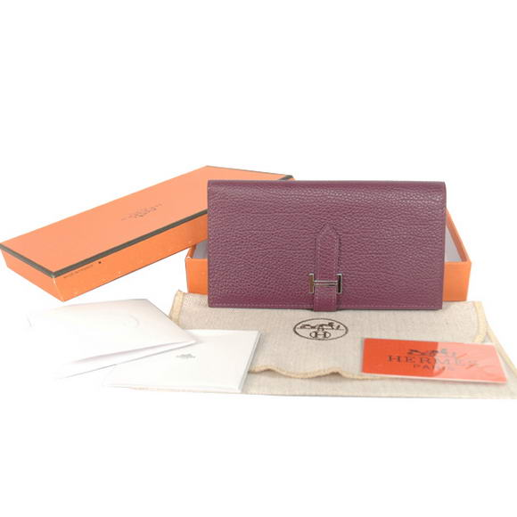 1:1 Quality Hermes Bearn Japonaise Smooth Leather Bi-Fold Wallets H208 Purpl Replica