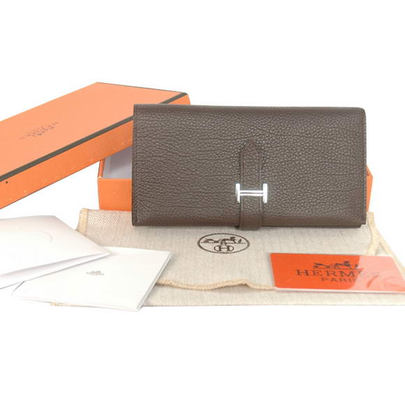 1:1 Quality Hermes Bearn Japonaise Smooth Leather Tri-Fold Wallet H308 Dark Replica