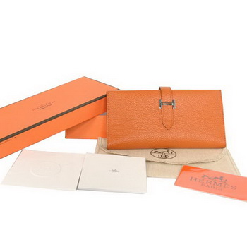 1:1 Quality Hermes Bearn Japonaise Smooth Leather Tri-Fold Wallet H308 Orang Replica