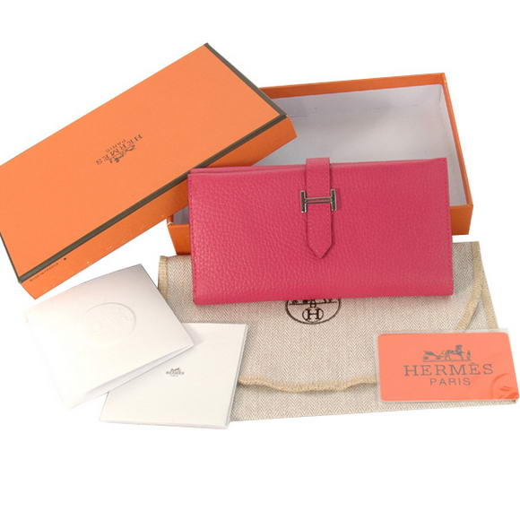 Cheap Fake Hermes Bearn Japonaise Tri-Fold Wallet H308 Peach