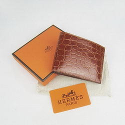 Cheap Replica Hermes Brown Crocodile Veins Bi-Fold Wallet H014