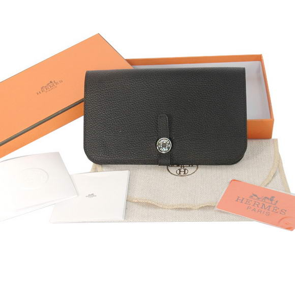 High Quality Hermes Compact Passport Holder Smooth Leather Wallet Black Fake