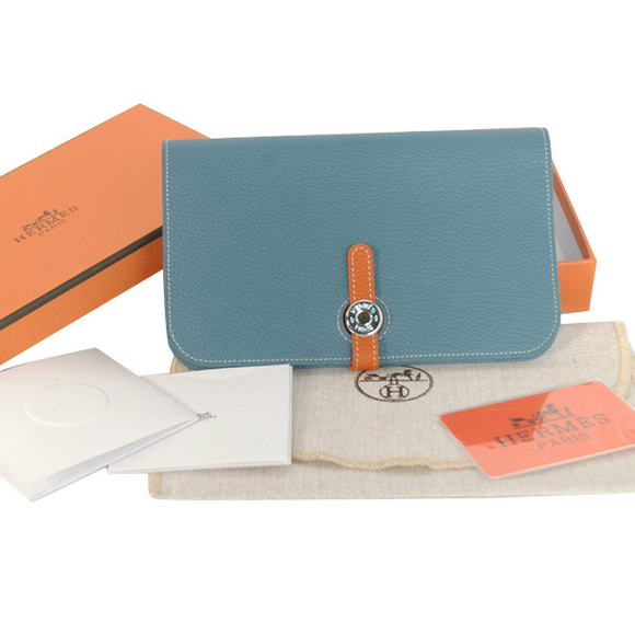 High Quality Hermes Compact Passport Holder Smooth Leather Wallet Blue Fake