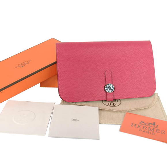High Quality Hermes Compact Passport Holder Smooth Leather Wallet Peach Fake