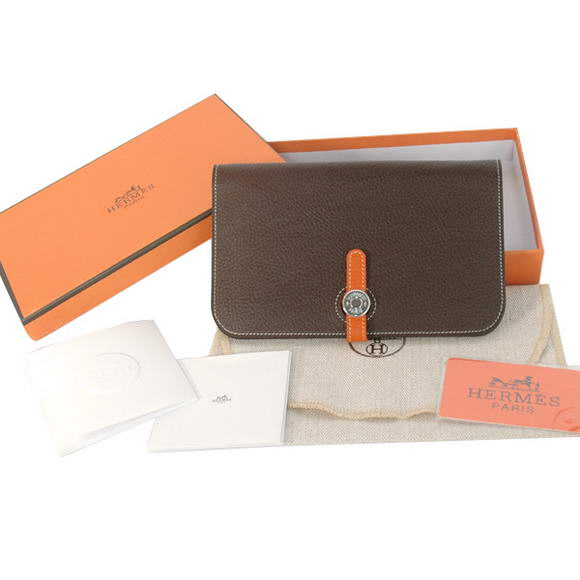 1:1 Quality Hermes Compact Passport Holder Togo Leather Wallet Brown Replica