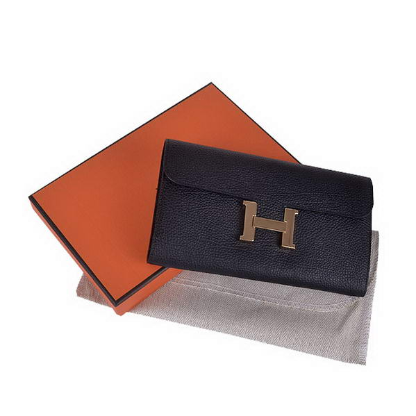 Cheap Fake Hermes Constance Long Wallets Black Calfskin Leather Gold