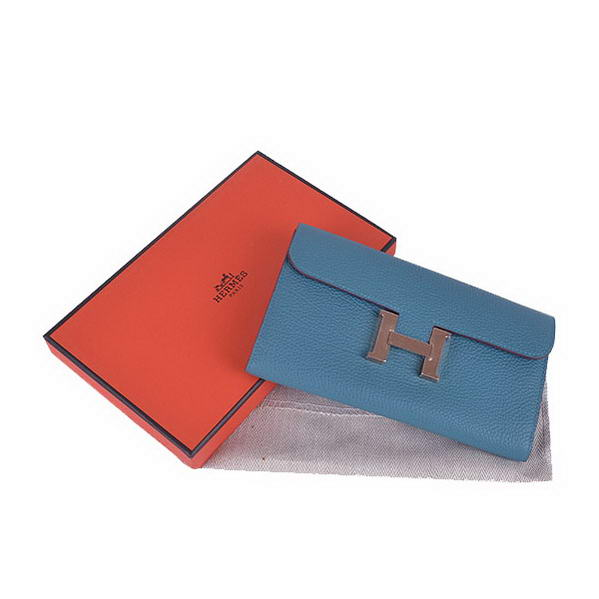 Cheap Fake Hermes Constance Long Wallets Blue Calfskin Leather Gold