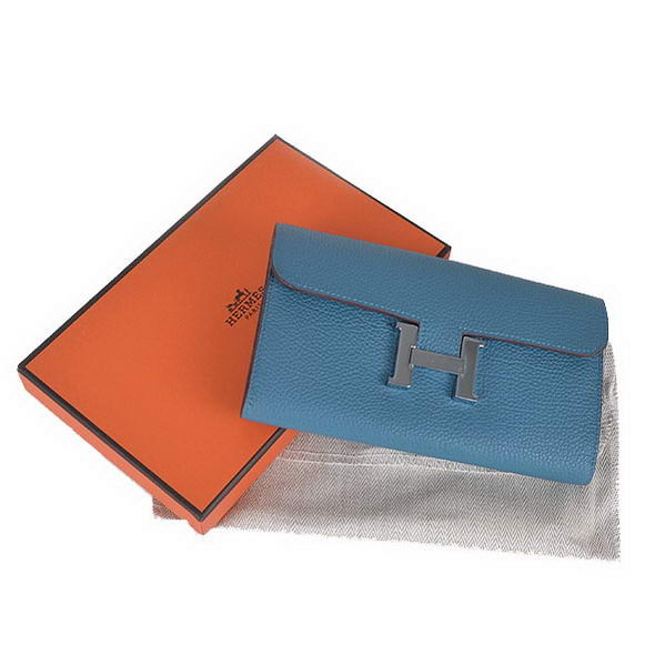 Cheap Fake Top Quality Hermes Constance Long Wallets Blue Calfskin Leather
