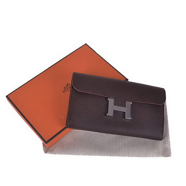 Cheap Fake Hermes Constance Long Wallets Brown Calfskin Leather Silver