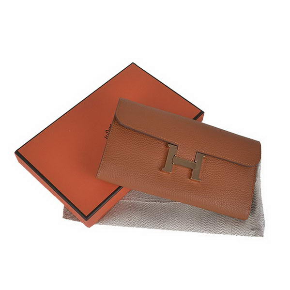 Cheap Fake Hermes Constance Long Wallets Camel Calfskin Leather Gold