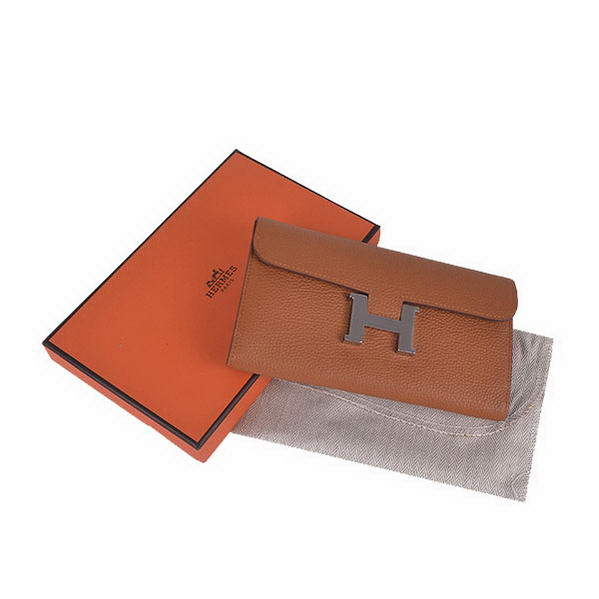 Cheap Fake Hermes Constance Long Wallets Camel Calfskin Leather Silver