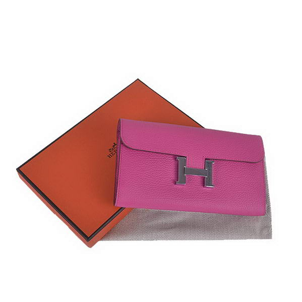 Cheap Fake Hermes Constance Long Wallets Peach Calfskin Leather Silver