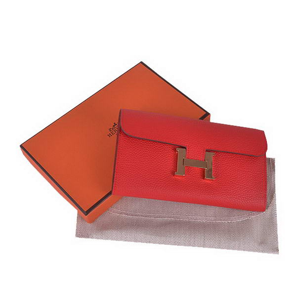 Cheap Fake Hermes Constance Long Wallets Red Calfskin Leather Gold