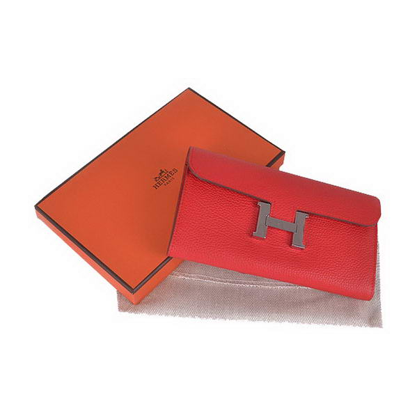 Cheap Fake Hermes Constance Long Wallets Red Calfskin Leather Silver