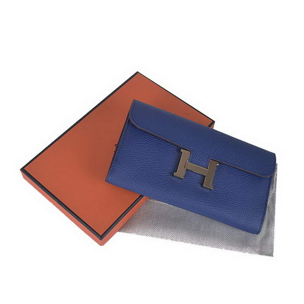 Cheap Fake Hermes Constance Long Wallets Royalblue Calfskin Leather Gold